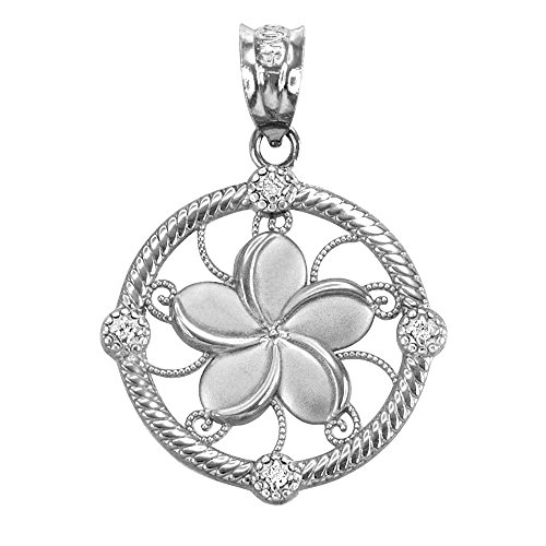 (14K White Gold Hawaiian Plumeria Flower Diamond Charm Pendant)