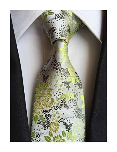Secdtie Men's Green Silver Self Tie Floral Leaf Silk Paisley Party Necktie B07