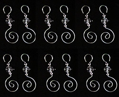96 Swirled 3 Inch Christmas Ornament Clear Beaded Decoration Hooks by Photojewelrymaking