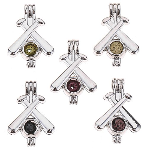 THREE FISH 10pcs DIY Baseball Bat Pearl Cage Bright Silver Beads Cage Locket Pendant Jewelry Making Supplies-For Oyster Pearls, Essential Oil Diffuser, Fun Gifts. (Baseball Bat)