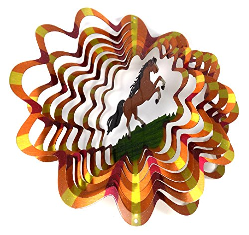 WorldaWhirl Whirligig 3D Wind Spinner Hand Painted Stainless Steel Twister Horse (6.5 inch, Multi Color)