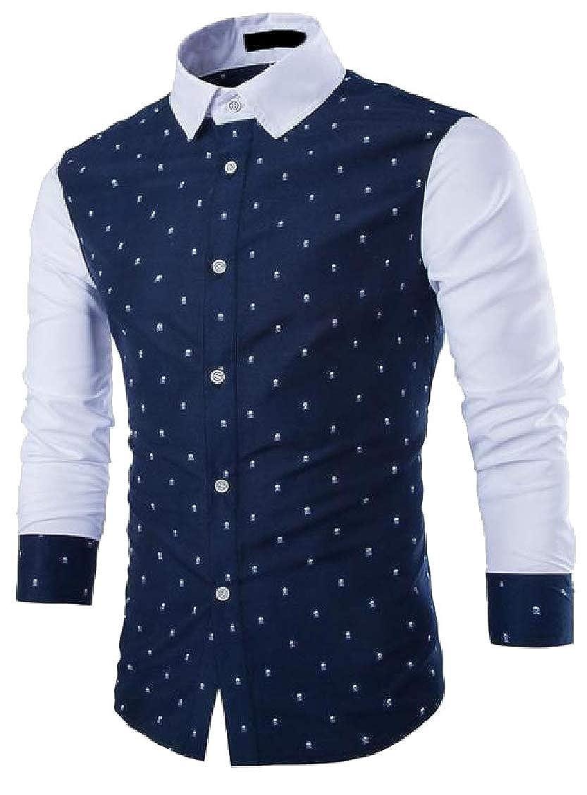 Hajotrawa Mens Slim Fit Contrast Color Long Sleeve Button Down Print Shirts