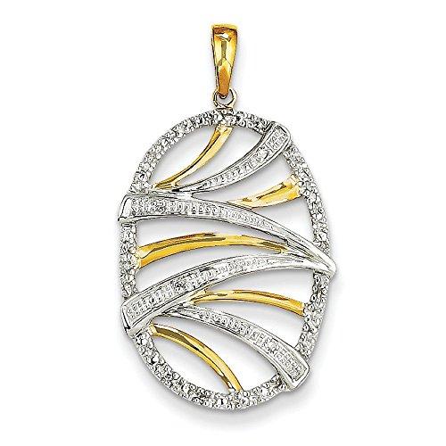 14 carats diamants bruts tourbillon ovale pendentif-JewelryWeb