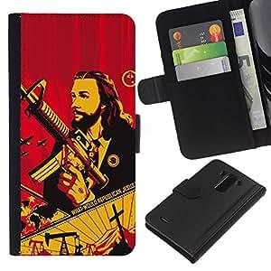 KLONGSHOP // Tirón de la caja Cartera de cuero con ranuras para tarjetas - Pistola Revolución comunismo de guerra - LG G3 //