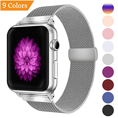 YOUKEX Milanese Loop Replacement Band Compatible with Apple Watch 38mm 42mm 40mm 44mm,Stainless Steel Mesh Band Magnetic Closure iWatch Series 4/3/2/1-42mm/44m silver