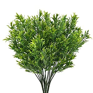 CATTREE Artificial Shrubs Bushes, Plastic Grass Fake Plants Wedding Indoor Outdoor Home Garden Verandah Kitchen Office Table Centerpieces Arrangements Christmas Decoration 9