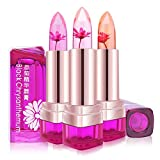 TOPBeauty Jelly Flower Lipstick Waterproof Long Lasting Lip Balm Color Change Magic Matte Jelly Lipstick 3 Colors Set