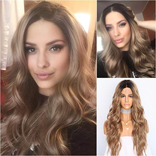 Sapphirewigs Black Dark Roots Ombre Brown Color Women Gift Daily Makeup Fashion Blogger Celebrity Wedding Party Synthetic Lace Front Wigs -