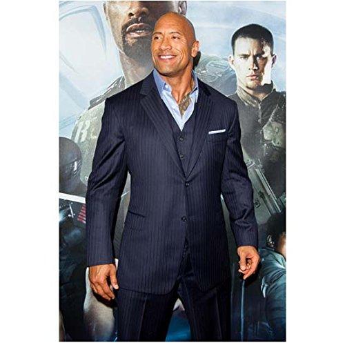 G.I. Joe: Retaliation (2013) 8x10 Photo Dwayne Johnson Shiny Blue Suit Standing in Front of Movie Posters Pose 2 kn (Photo Joe Johnson)