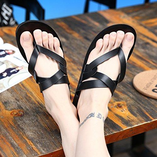 Xing Lin Sandalias De Hombre Zapatillas De Cuero De Hombres, Hombres Coreanos, Placa De Pie Calzado De Playa, Sandalias Y Zapatillas 1 Black