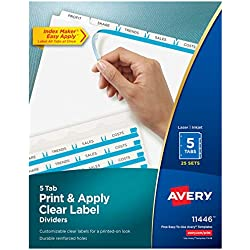 Avery 5-Tab Binder Dividers, Easy Print & Apply Clear Label Strip, Index Maker, White Tabs, 25 Sets (11446)