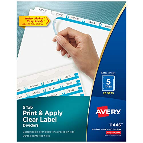 (Avery 5-Tab Binder Dividers, Easy Print & Apply Clear Label Strip, Index Maker, White Tabs, 25 Sets (11446))