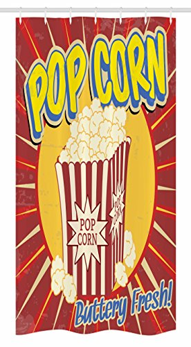 Ambesonne Retro Stall Shower Curtain, Vintage Grunge Pop Corn Commercial Print Old Fashioned Cinema Movie Film Snack Artsy, Fabric Bathroom Decor Set with Hooks, 36 W x 72 L Inches, Multicolor ()