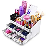 MaxKim  Makeup Jewelry Organizer 2 Drawer with 15 Compartments and mirror  for  Cosmetics,...