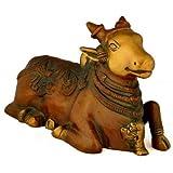 "Gangesindia Brass Carved Shiva Vahana Nandi Sculpture Brown Finish Bull Figurine 1722 Decor (11""W x 6.50""H x 4.50"") Bronze"