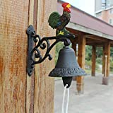 HIZLJJ Outdoor Wall-Mounted Fountains Cast Iron Color Rooster Chicken Bell on Rod. for Farm, Ranch, Cabin Decoration, Decorative Doorbell