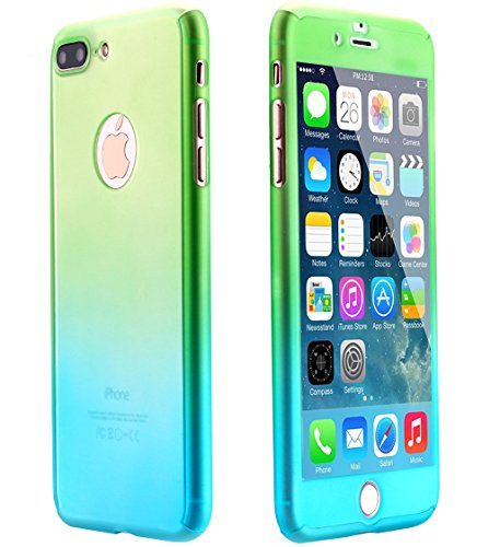 iPhone 7 Case,AICase Ultra Thin Full Body Coverage Protection Soft PC [Dual Layer][Slim Fit] Case with Tempered Glass Screen Protector for iphone 7 (Green) (Screen Green Case)