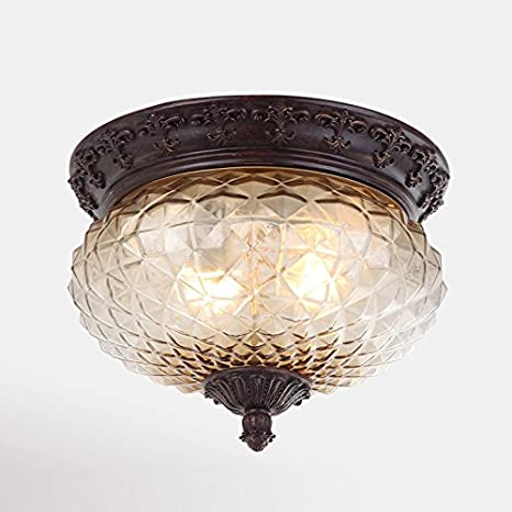 Pineapple Glass Balcony Ceiling Lights American Rust Carved Resin ...