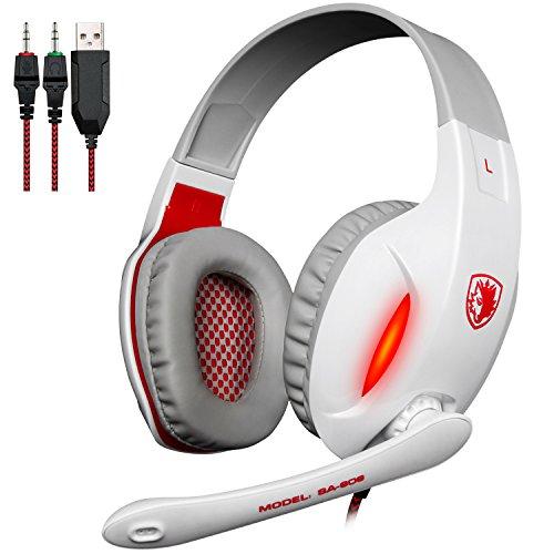 SADES SA808 3,5-mm-Stereo-Surround-Sound Gaming-Kopfhörer Kopfhörer mit Bügel mit hoher Empfindlichkeit Mikrofon LED-Licht für PC (weiß)