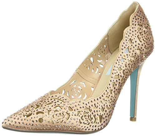 Blue by Betsey Johnson Women's SB-Elsa Heeled Sandal, Blush Satin, 10 W US by Blue by Betsey Johnson