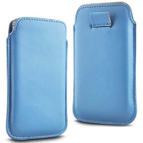 S5230 Tocco Light - N4U Accesoories Twin Value Pack - 2 X Light Blue Superior Pu Soft Leather Pull Flip Tab Case Cover Pouch For Samsung Tocco Lite S5230