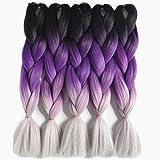 Braiding Hair 60Cm 100G Synthetic Braids Black Gray Purple Blue Green Brown Crochet Hair Extensions T1B/4/27 24inches