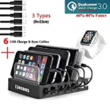 COSOOS Charging Station Hub with Quick Charge QC 3.0, 6 Phone Charger Cables(3 Types),lwatch Stand,Fastest 6-Port Docking Station,USB Charging Station for Multiple Devices,Tablet,Kindle(UL Certified)