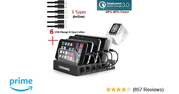 COSOOS Fastest Charging Station with Quick Charge QC 3.0, 6 Phone Charger Cables(3 Type),lWatch Stand,6-Port Multi USB Charger Station,Charging ...