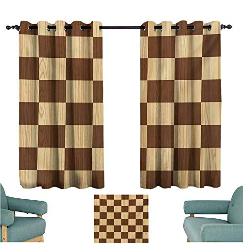 DONEECKL Windshield Curtain Checkered Empty Checkerboard Wooden Seem Mosaic Texture Image Chess Game Hobby Theme Thermal Insulated Tie Up Curtain W55 xL63 Brown Pale Brown