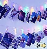 SuperDecor 30 LED Photo Clips String Lights Decorations Lights for Dorm Room Bedroom USB Powered 12 Ft Gift for College Girls Warm White (Multicolor)
