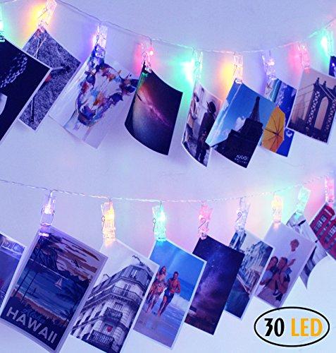 SuperDecor 30 LED Photo Clips String Lights Decorations Lights for Dorm Room Bedroom USB Powered 12 Ft Gift for College Girls Warm White (Girl String Decoration)