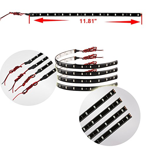 Zento-Deals-30cm-White-LED-Car-Flexible-Waterproof-Light-Strip-Pack-of-4