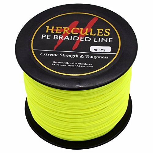 (HERCULES 300m 328yds Fluorescent Yellow 10lbs-300lbs Pe Braided Fishing Line 8 Strands (300lb/136.1kg 1.20mm))