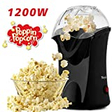 Hot Air Popcorn Popper, Popcorn Maker, 1200W Electric Popcorn Machine with Measuring Cup and Removable Lid, Healthy Popcorn Maker for Home, No Oil Needed, Great For Kids (Black)