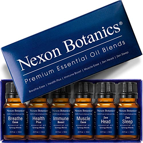 Nexon Botanics Essential Oil Blends Set - Best Essential Oils Blends for Diffuser and Aromatherapy - Essential Oil Kit 6 x 10 ml
