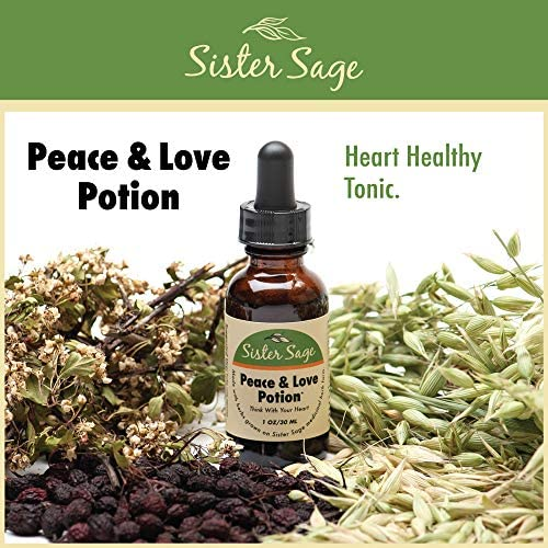 Peace Love Potion, 100 All Natural Hawthorne Heart Support Tincture 1 Oz