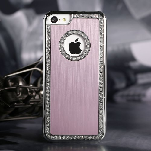 Style Icon Iphone 4/4S Deluxe Pink brushed aluminum diamond case bling cover for iphone 4/4S