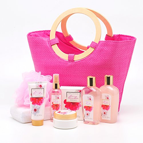 Green Canyon Spa Cherry Blossom Gift Set, Luxury Bath Gift Set with 9 Pieces Premium Bath and Body Spa Products Including Pink Tote Bag with Wood Handles