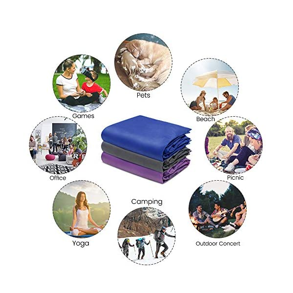 51kTQa1TOLL ZOMAKE Warme Fleece-Outdoor-Decke wasserdichte Leichte Campingdecke für das Winterpicknick (Hellgrau und Dunkelblau)