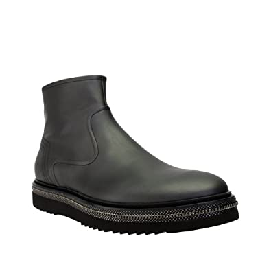 37aca5af57146 Alberto Guardiani New Mens Black Leather Side Zippered Ankle Boot W Silver  Trim