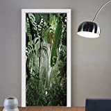Gzhihine custom made 3d door stickers Rainforest Forest in Nepal Touristic Trekking Branches Mist Road Fresh Air Outdoors Green Brown For Room Decor 30x79
