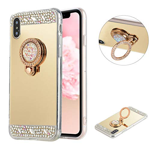 LCHDA iPhone Xs X Case Mirror Gold with Ring Kickstand Glitter Sparkle Rhinestone Diamond Flower Makeup Cover with Finger Holder Grip for Apple iPhone Xs X 5.8 inch.