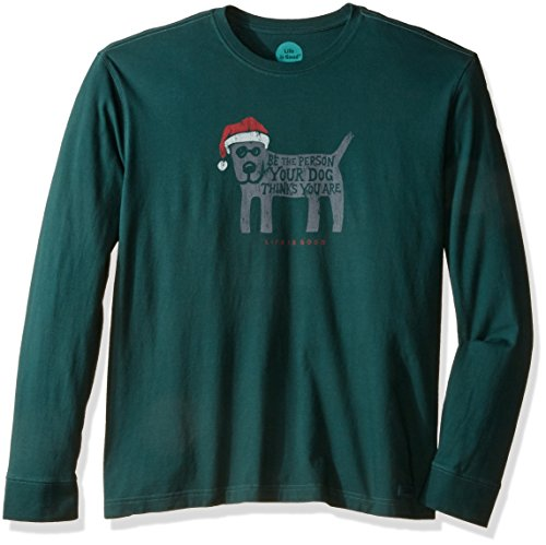 Life is good Men's Rocket Holiday Crusher Long Sleeve Tee, Balsam Green, X-Large