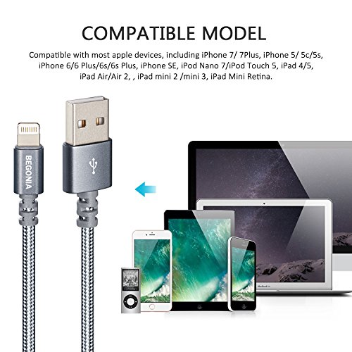 Lightning Cable, Begonia 4PACK (3FT & 6ft) Nylon Braided Charging Cable Cord Lightning to USB Cable Charger Compatible with iPhone,iPad, iPod and More (cool grey) by Begonia (Image #6)
