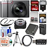 Panasonic Lumix DMC-ZS100 4K Wi-Fi Digital Camera (Silver) 64GB Card + Case + Flash + Battery & Charger + Tripod + Strap + Kit