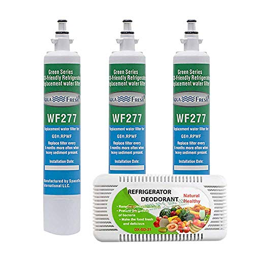 Aqua Fresh WF277 Replacement Refrigerator Water Filter For GE Appliance RPWF and Odor Remover Combo