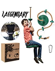 Climbing Rope Tree Swing with Platforms and Disc Swings Seat - Playground Swingset Outdoor Accessories for Kids - Trees House Tire Flying Saucer Swing Outside Toys - Bonus Carabiner and 120 Centimeters Strap