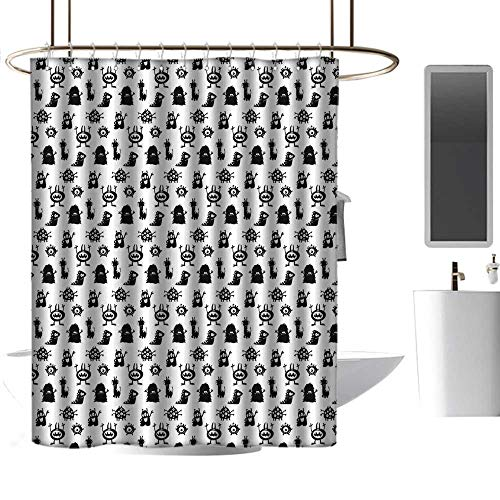 homehot Shower Curtains for Bathroom with Rosebuds Alien,Monochrome