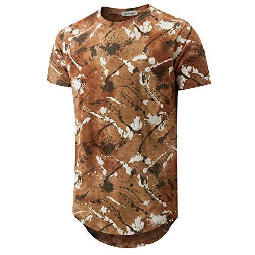 KLEGOU Mens Hip Hop Tie-Dye Hipster Curved Hem T Shirt(889 Brown M)