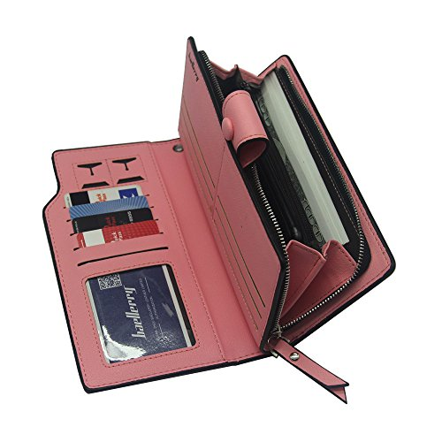 RFID Multi Clutch Card Leather Women Wallet Pink Holder Light Purse Ladies Blocking rwFqTx0r